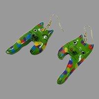Cat Earrings, Green Earrings, Vintage Earrings, Kitschy, Painted Wood, NOS