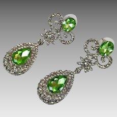 Rhinestone Earrings, Green, Clear, Silver, Dangles, Pierced Earrings, Long, Oversized, Vintage, NOS, 1990s, Statement, Big Large