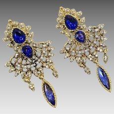 Renaissance Earrings, Vintage Earrings, Victorian Revival, Rhinestone, Pearls, Blue, Gold, Pierced, Oversized, Vintage, Statement, Big Large