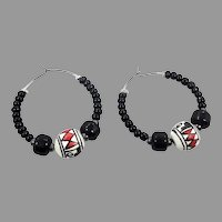 Hoop Earrings, Mexican, Pottery Beads, Black White Red, Boho Bohemian, Pierced Earrings, Vintage Earrings, Big Hoops, Ethnic Jewelry, Hippie