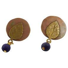 Boho Studio Earrings, Copper, Brass, Leaves, Mixed Metal, Vintage Earrings, Boho Jewelry, Big Earrings, 1980s, Pierced Posts, Patina, Artsy