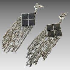 """Chain Earrings, Silver, Black, Vintage Earrings, Rhinestone, Big, Massive, Huge, Large, Pierced, Dangle, 3"""" Long, Long Statement, Festival"""
