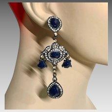 Black Earrings, Rhinestone, Navy Blue, Acrylic Jewels, Renaissance Earrings, Vintage, NOS, 1990s, Victorian Revival, Pierced, Statement, Big