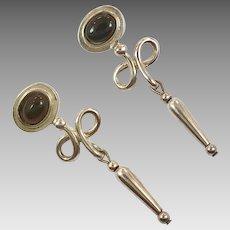 Black Onyx Earrings, Sterling Silver, Modern, Vintage Earrings, Pierced, Dangle, Contemporary, Minimalist, Long Earrings, Black Stone