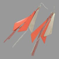 Long Earrings, Chains, Triangles, Fluorescent Orange, Gold, Vintage Earrings, 1980s, 80s, Pierced, Dangles, Retro, Funky, Big, Geometric