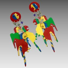 Parrot Earrings, Bird, Kitschy, Huge, Vintage Earrings, Enameled, Dangle, Pierced, Retro, 1980s, 80s, Big Statement, Bird Jewelry, Boho