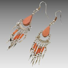 Jasper Earrings, Peruvian, Gypsy Earrings, Silver, Vintage Earrings, Orange Stone, Boho, Long Dangles, Big Earrings, Hippie, Statement