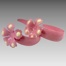Flower Earrings, Pink Earrings, Vintage Earrings, 1980s, 80s, NOS, Big Hoops, New Old Stock, Enameled, Mod, Huge, Pierced, Retro, Statement