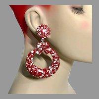 Hoop Earrings, Red, Enameled, Vintage Earrings, NOS, 1980s, 80s, Pierced, New Old Stock, Retro, Huge, Statement Earrings