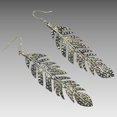 Boho Silver Earrings, Articulated, Huge, Vintage Earrings, Dangle, Pierced, Oversized, Statement Earrings, Silver Metal, Festival Jewelry