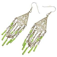 Boho Earrings, Silver Filagree, Vintage Earrings, Pale Green, Chains, Pierced, Dangles, Lightweight, Gypsy Bohemian, Festival, Long