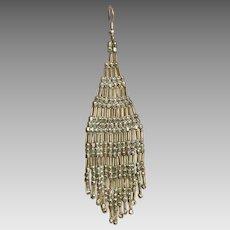Fringed Earrings, Silver, Seed Beaded, Vintage Earrings, Boho, Woven, Long, Festival, Pierced, Large Big