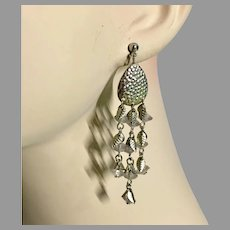 Boho Earrings, Vintage Earrings, Leaf Charms, Silver Metal, Lightweight, Long Dangles, Pierced, Bohemian Jewelry, Ethnic, Festival Jewelry