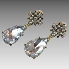 Rhinestone Earrings, Acrylic Jewels, Gold, Vintage Earrings, 1980s, 80s, NOS, Evening, Pierced Dangle