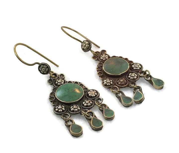 gold framed stone earrings green productdetails asp