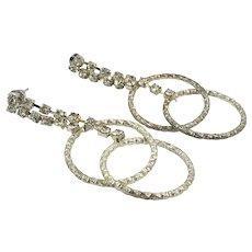 """Rhinestone Earrings, Dangle, Vintage Jewelry, 2 1/2"""" Long, Modern, Pierced Earrings, Clear, Silver, Big Statement, Prom, Evening Jewelry"""