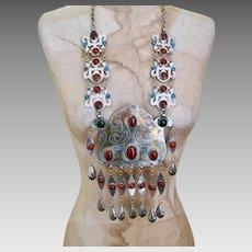 Afghan Necklace, Carnelian, Silver, Mixed Metal, Vintage Necklace, Massive, Oversized, Turquoise, Glass, Kuchi, Boho, Big Statement
