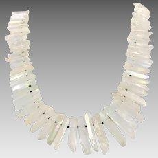 "Crystal Point Necklace, Quartz Points, Aura, AB, Oversized Necklace, 22"" Strand, Sterling, Artisan, Quartz Necklace, Statement, Big, New Age"