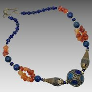 Lapis Necklace, Carnelian Necklace, Handcrafted, Artisan, Brass Necklace, Ethnic Jewelry, Afghan Beads, Beaded Necklace, Unique, OOAK