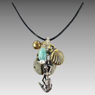 Mermaid Necklace, Turquoise, Pearl, Stone Necklace, Leather, Artisan, Beach Jewelry, Seashell, Black Leather, Rock Pendant, Cruise, Vacation