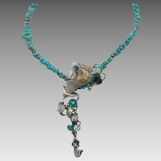 Mermaid Necklace, Shell Necklace, Turquoise, Sterling Silver, Artisan, Beaded, Seashell, Aqua, Beach, OOAK, Wire Wrapped, Faceted Crystal