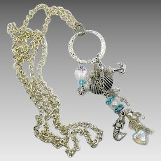 Mermaid Necklace, Silver, Long Chain, Charms, Dangles, Turtle, Sea Shell, Anchor, Tunic Length, Layer, Artisan, Beach Jewelry, Ocean, Sea