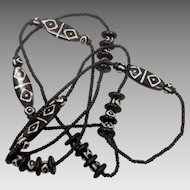 """African Necklace, Glass Beads, Brown, Black, 54"""" Long, Boho, Beaded Necklace, Layering Necklace, Vintage Jewelry, Ethnic Jewelry, Tribal"""