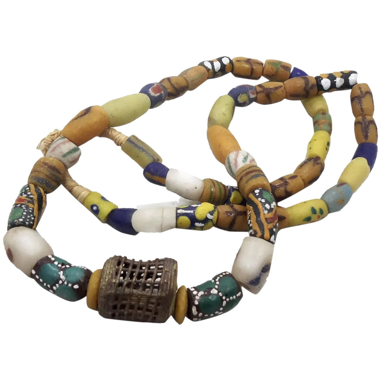 """Details about  /Vintage African Glass Trade Bead Necklace 19/"""""""