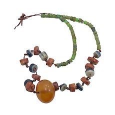 African Necklace, Copal Pendant, Clay Beads, Trade Beads, Vintage Necklace, Glass Beads