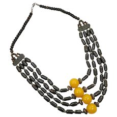 Black Necklace, Vintage Necklace, Glass, Bone, Amber Lucite, Multi Strand, Boho, Bib Necklace, Massive, Huge, Ethnic Tribal, Oversized