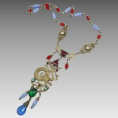 Dragon Necklace, Art Nouveau, Vintage Necklace, Czech Glass, Brass, 1920s, 1930s, Renaissance, NOS, Blue, Red