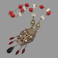 Butterfly Necklace, Art Nouveau, Vintage, Czech Glass, Red, Black, 1920s, 1930s, Brass, Ornate, NOS, Rhinestone, Art Deco, Patina