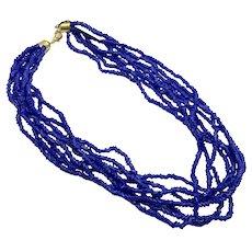 Blue Necklace, Torsade, Bohemian Glass, NOS, Cobalt Blue, Multi Strand, Glass Beads, Vintage Necklace, Gold