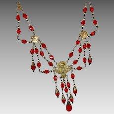 Goddess Necklace, Art Nouveau, Vintage, Festoon, Red, Brass, 1920s, 1930s, Czech Glass, Brass, NOS