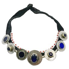 Coin Necklace, Kuchi Necklace, Afghan Jewelry, Vintage Necklace, Middle Eastern, Cobalt Blue, Glass Jewels, Gypsy, Nomadic, Turkmen, Boho