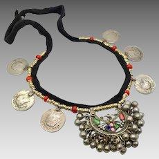 Afghan Necklace, Vintage Necklace, Coins, Kuchi Gypsy, Kuchi Jewelry, Pink, Green, Silver, Brass, Boho Statement, Bohemian, Ethnic Tribal