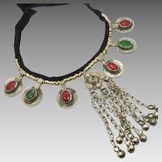 Boho Necklace, Kuchi, Afghan Jewelry, Coins, Dangles, Vintage, Jewels Red Green, Gypsy Jewelry, Banjar, Statement, Bohemian, Ethnic Tribal