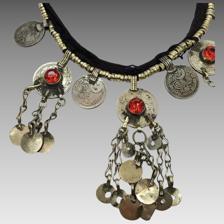 Kuchi necklace afghan jewelry red accents bells coins dangles kuchi necklace afghan jewelry red accents bells coins dangles vintage gypsy jewelry aloadofball Gallery