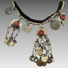 Kuchi Necklace, Afghan Jewelry, Red Accents, Bells Coins Dangles, Vintage Gypsy Jewelry, Turkomen, Boho Statement, Bohemian, Ethnic Tribal