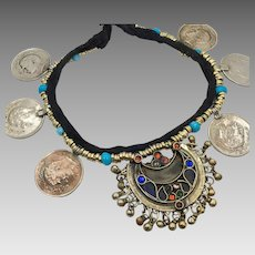 Gypsy Necklace, Kuchi, Afghan Jewelry, Coins, Vintage Necklace, Jewels, Red, Blue, Pakistan, Boho Statement, Ethnic Tribal, Festival Jewelry