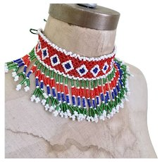 Beaded Choker, Fringed, Afghan Jewelry, Vintage Necklace, Red, Blue, Green, Woven, Boho Statement, Bohemian, Hippie Festival, Ethnic Tribal