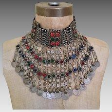 Afghan Necklace, Massive, Kuchi, Green Jewels, Huge, Vintage Bib, Oversized, Pakistan, Silver, Red, Belly Dance, Big, Banjara, Boho, Dangles