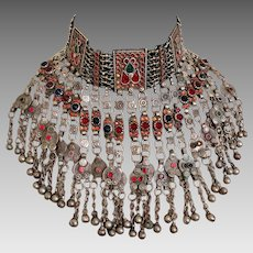 Afghan Necklace, Massive, Kuchi, Choker, Green Jewels, Huge, Vintage Bib, Oversized, Pakistan, Silver, Red, Belly Dance, Big, Boho, Dangles