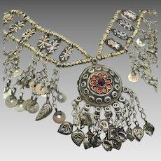 Afghan Necklace, Middle Eastern, Vintage Necklace, Kuchi Jewelry, Choker, Dangles, Gypsy Jewelry, Boho Statement, Bohemian, Ethnic Tribal