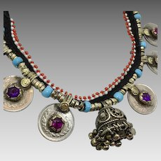 Kuchi Necklace, Afghan Jewelry, Bell, Coins, Vintage Necklace, Purple, Gypsy Jewelry, Turkomen, Boho Statement, Nomadic, Middle Eastern