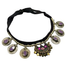 Boho Necklace, Purple, Afghan, Coins, Vintage Necklace, Gypsy Jewelry, Turkomen, Nomadic, Middle Eastern