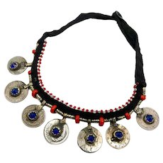 Coin Necklace, Afghan Jewelry, Vintage Necklace, Kuchi Jewelry, Cobalt Blue, Red, Middle Eastern, Glass Jewels, Brass, Festival, Bohemian