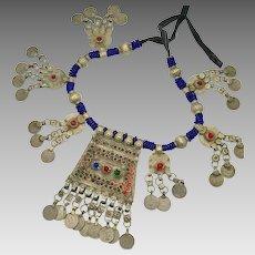 Afghan Necklace, Middle Eastern, Vintage Necklace, Silver, Kuchi Jewelry, Massive, Blue, Big Statement, Nomadic Jewelry, Gypsy, Boho, Huge
