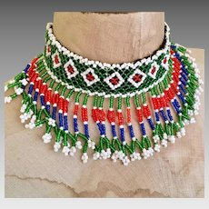 Afghan Choker, Fringed, Choker, Vintage Necklace, Red, Blue, Green, Woven, Boho Statement, Bohemian, Hippie Festival, Ethnic Tribal
