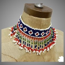 Afghan Necklace, Blue, Beaded Choker, Fringed, Vintage Necklace, Middle Eastern, Red, Green, Woven, Boho Statement, Bohemian, Hippie